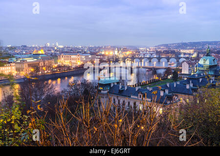 Bridges over the Vltava river, as seen from Letná at dusk. Prague, Czech Republic - Stock Photo