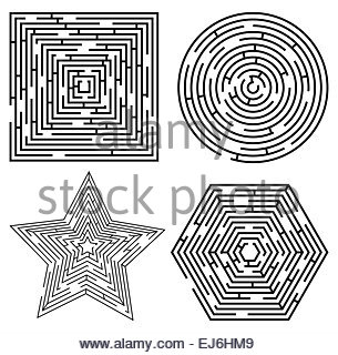 Set of different maze shapes. Vector eps10. - Stock Photo