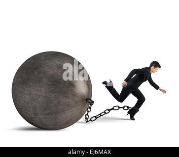 Businesswoman escape - Stock Photo
