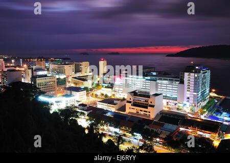 Night scenery of Kota Kinabalu City, Sabah Borneo Malaysia - Stock Photo