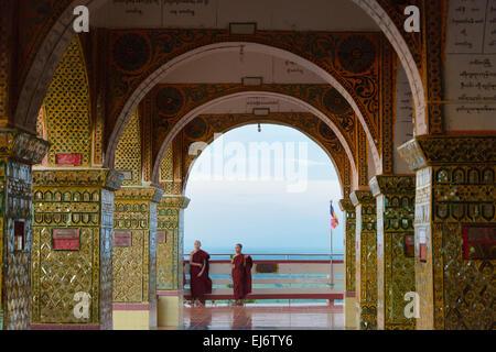 Monk at Su Taung Pyi (Sutaungpyai) on Mandalay Hill, Mandalay, Myanmar - Stock Photo