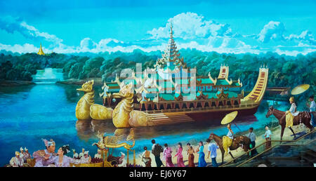 Historic painting of Karaweik Hall, a palace on Kandawgyi Lake, now a floating boat restaurant, Yangon, Myanmar - Stock Photo