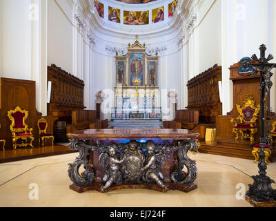 Altar of the baroque church, Cathedral of San Nicolo, Noto, Val di Noto, UNESCO World Heritage Site, Province of - Stock Photo