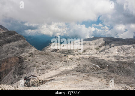 Rosetta Plateau, on the left cable car station of San Martino di Castrozza, at the back the Rosetta Refuge, 2578 - Stock Photo