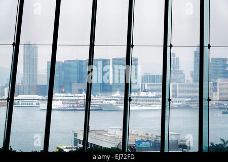 Hong Kong, Hong Kong SAR -November 12, 2014:View of Victoria Harbor with luxury cruise Ships from International - Stock Photo