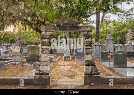 Jewish section of the historic Bonaventure Cemetery in Savannah, Georgia - Stock Photo