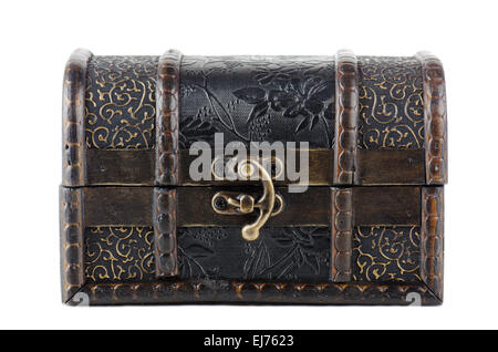 vintage wooden chest over white - Stock Photo