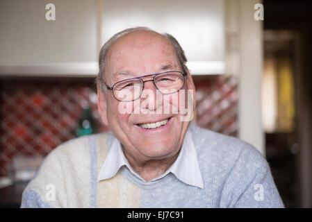 80s smiling elderly man portrait - Stock Photo