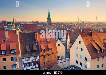 Nuremberg. Image of historic downtown of Nuremberg, Germany at sunset. - Stock Photo
