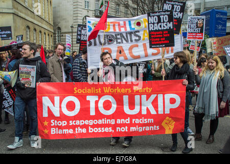 London UK, 21st March 2015: Protesters at the Stand Up To Racism & Fascism demonstration. - Stock Photo