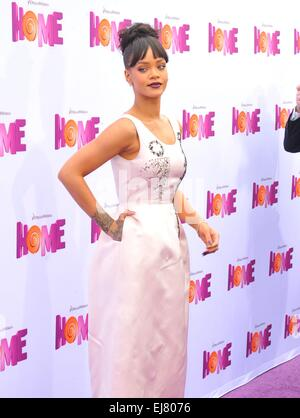 Los Angeles, California, USA. 23rd Mar, 2015. Rihanna at arrivals for HOME Premiere, The Regency Village Theatre, - Stock Photo