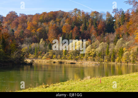 Autumn at the Isar, Bavaria, Germany - Stock Photo