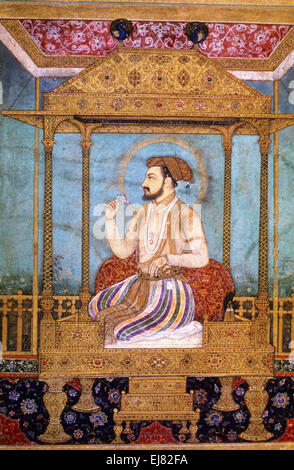 Shah Jahan on the Peacock Throne. Mughal miniature painting circa 1630 A.D. India - Stock Photo