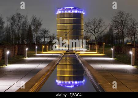 Illuminated Gasometer, Oberhausen, Germany - Stock Photo