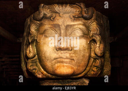 Medusa head at the Basilica Cistern - Istanbul Turkey - Stock Photo