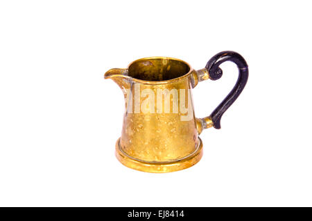 antique brass cup sauce boat isolated on white - Stock Photo