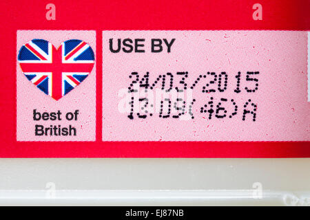 Best of British and Use By date - label on 1 pint of Marks & Spencer British Farm Assured skimmed milk - Stock Photo