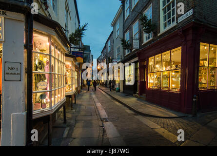The Shambles -14th century timber framed houses and shops - Stock Photo