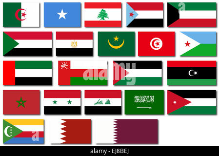 Flags of countries in The Arab League over a white background - Stock Photo