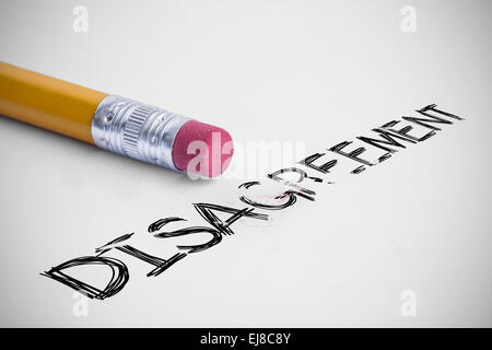 Disagreement against pencil with an eraser - Stock Photo