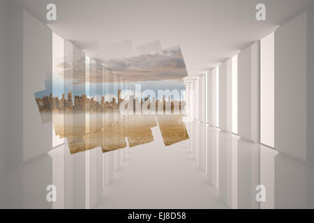 Abstract screen in room showing cityscape - Stock Photo