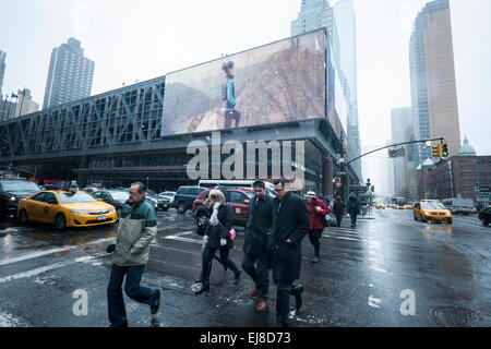The depressing Port Authority Bus Terminal in midtown Manhattan in New York on Friday, March 20, 2015. The Board - Stock Photo