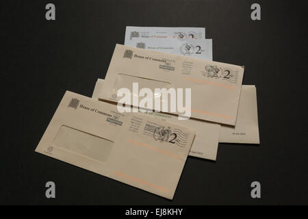 Empty envelopes that contained letters from the UK House of Commons. - Stock Photo
