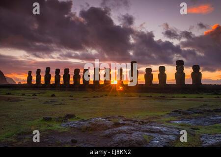 Sunrise at Tongariki, Rapa Nui, Easter Island, Isla Pascua - Stock Photo