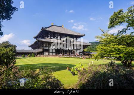 Todaiji Temple Daibutsu-den Hall in Nara, Japan on a beautiful autumn day - Stock Photo