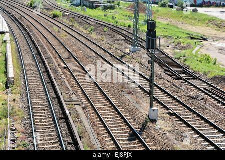 Railroad tracks in Berlin - Stock Photo