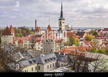 Rooftop Scene Tallinn Estonia - Stock Photo