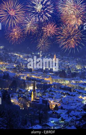 firework over city Garmisch-Partenkirchen - Stock Photo