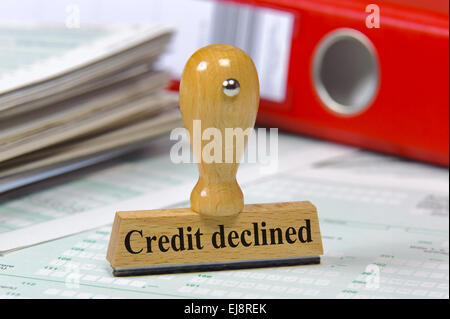 credit declined marked on rubber stamp - Stock Photo