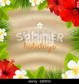 Tropical Frame With Flowers - Stock Photo