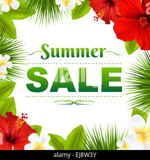 Sale Tropical Frame With Flowers - Stock Photo