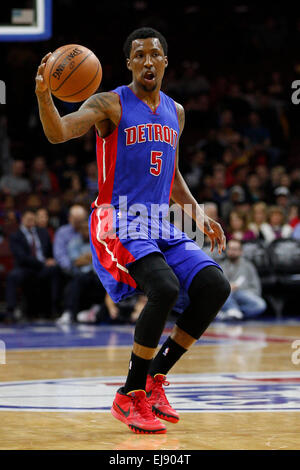 March 18, 2015: Detroit Pistons guard Kentavious Caldwell-Pope (5) in action during the NBA game between the Detroit - Stock Photo