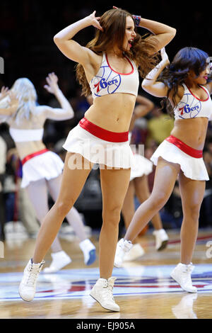March 18, 2015: Philadelphia 76ers Dancers perform during the NBA game between the Detroit Pistons and the Philadelphia - Stock Photo