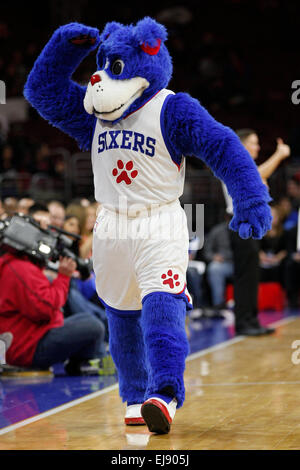 March 18, 2015: Philadelphia 76ers mascot Franklin in action during the NBA game between the Detroit Pistons and - Stock Photo