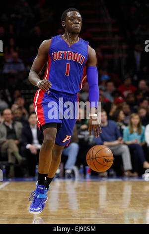 March 18, 2015: Detroit Pistons guard Reggie Jackson (1) in action during the NBA game between the Detroit Pistons - Stock Photo