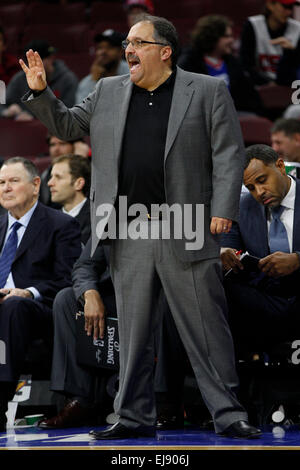 March 18, 2015: Detroit Pistons head coach Stan Van Gundy reacts during the NBA game between the Detroit Pistons - Stock Photo