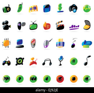 Colorful electronics, devices and music icons - Stock Photo