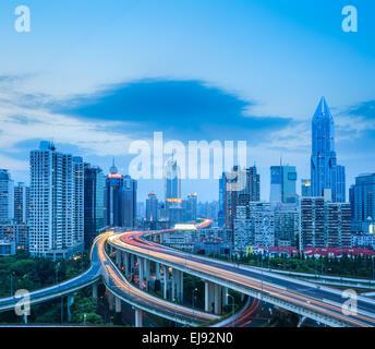road interchange in shanghai - Stock Photo