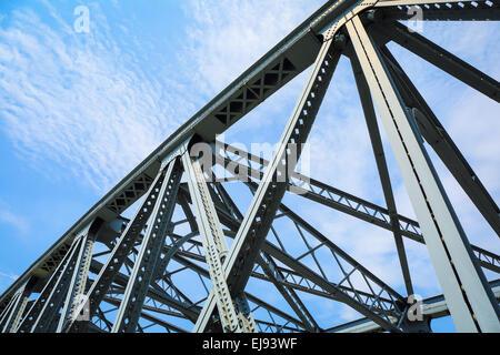 steel structure bridge closeup - Stock Photo
