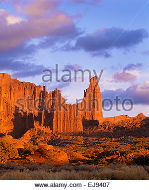 'Fisher Towers' at sunset  BLM  [Southeast Utah] - Stock Photo