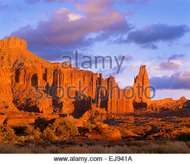 Fisher Towers at sunset.  BLM.  Southeast Utah. - Stock Photo