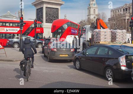 London, Trafalgar Square   Late morning traffic congestion approaching gridlock - Stock Photo