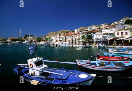 greece, northeastern aegean islands, samos, pythagorion harbor - Stock Photo