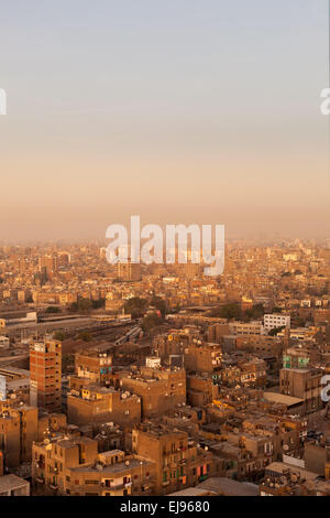 Slum roofs in Cairo Egypt showing trash - Stock Photo