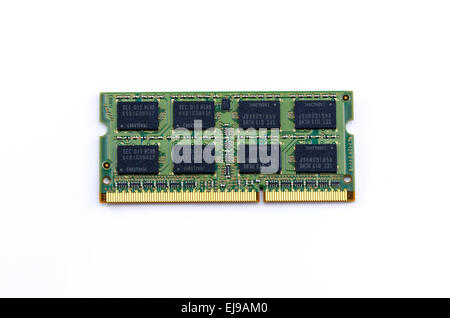 Green DDR RAM stick on isolated background - Stock Photo