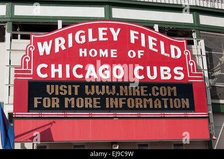 Close-up view of the sign over the main entrance to Wrigley Field, baseball stadium, Chicago, Illinois. - Stock Photo